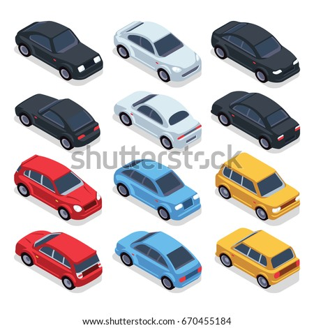 Isometric 3d cars. Transportation technology vector vehicles set. Isometric vehicle transport, illustration of colored cars