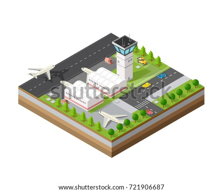 isometric 3d city airport with