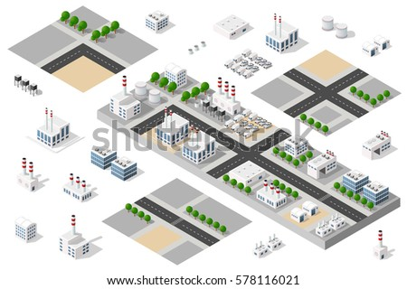 Isometric 3D city urban factory set which includes buildings, power plant, heating gas, warehouse, elevator exterior. Flat map isolated infographic element  kit industrial structures