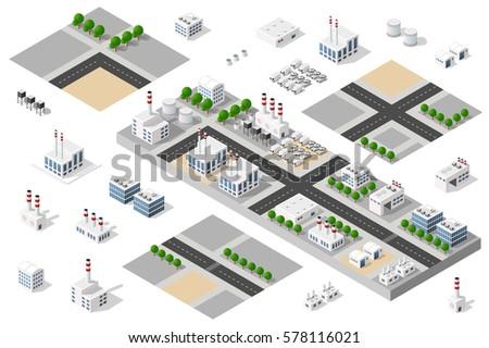 isometric 3d city urban factory