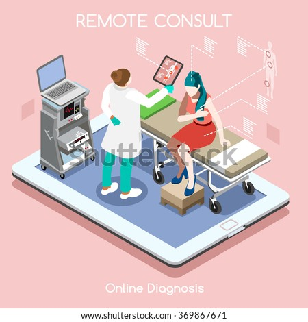 Isometric 3D Clinic Hospital Medical Consult App Online Remote Checkup Infographic Flat 3D Isometric High Tech Device. Healthcare Isometric Medical Consult People Patient Doctor Clinic Hospital Vector