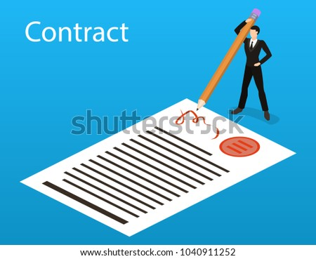 Isometric 3D concept vector illustration the concept of signing a contract with a pencil. The director enters into an agreement