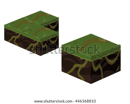 isometric 3d cube jungle