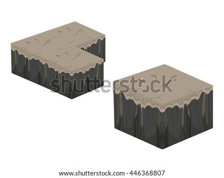 isometric 3d cube stone