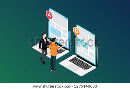 isometric 3d design ab a b split testing concept with two business men compare test result between 2 page of website design comparison - vector illustration Stockfoto ©