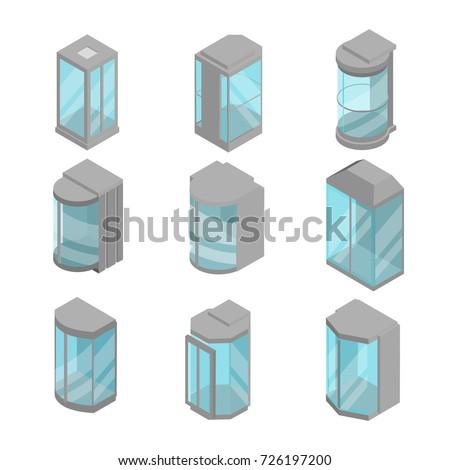 isometric 3d elevators set