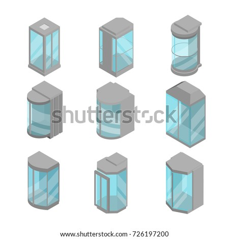 isometric 3d elevators set