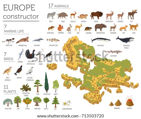 Isometric 3d European flora and fauna map constructor elements. Animals, birds and sea life isolated on white big set. Build your own geography infographics collection. Vector illustration