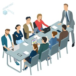 Isometric 3d flat design vector  office. Corporate briefing  teamwork brainstorming. Diverse characters and professions. Isometric acting man and woman  teamwork, front and back view collection