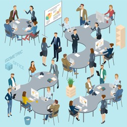 Isometric 3d flat design vector  office. Standing and sitting business people diverse characters, styles and professions. Isometric acting man and woman  teamwork, front and back view collection