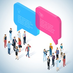 Isometric 3d flat design vector people communicating different characters, styles and professions. Isometric acting man teamwork in office  front and back view collection