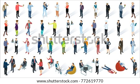 Isometric 3d flat design vector people set. Different characters, styles and professions, full length diverse acting poses collection. Varios poses, sitting, standing, handshaking.