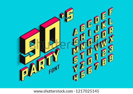 Isometric 3d font, back to the 90's alphabet letters and numbers, vector illustration