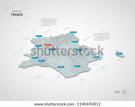 Isometric  3D France map. Stylized vector map illustration with cities, borders, capital Paris , administrative divisions and pointer marks; gradient background with grid.