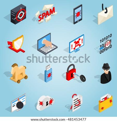 isometric 3d hacking set icons