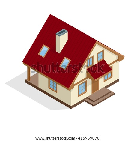 Isometric 3d House icon. Townhouse. Village house. Vector illustration for real estate banner. Property insurance and security. For infographics and design games.  Construction.