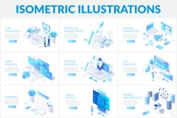 Isometric 3d illustrations set. Car insurance, planning, data analysis and startup business with characters.