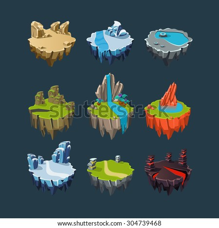 isometric 3d islands mountains