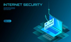 Isometric 3D laptop credit card cvv password phishing. Personal information account email online scam hacker. Spam antivirus internet security spam concept banner template card vector illustration