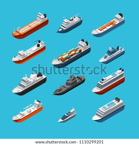 Isometric 3d military and passenger ships, boat and yacht vector sea transportation and shipping icons isolated. Transport water travel, boat ship and vessel cruise illustration