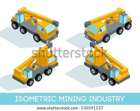 isometric 3d mining industry