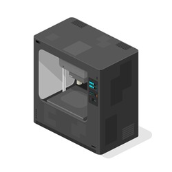 Isometric 3d Printer Icon - Vector illustration