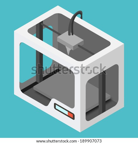 Isometric 3D Printer on a Blue Background. Vector Illustration.