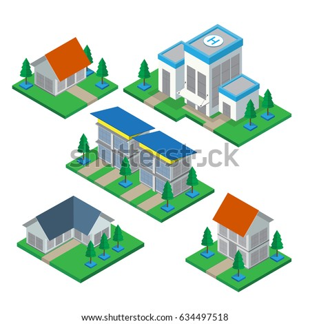 Isometric 3d private house and commercial Building  icons set. Architecture real estate, property and home, vector illustration