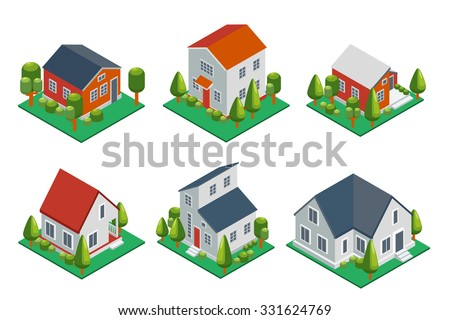 isometric 3d private house