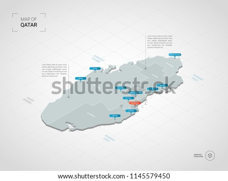Isometric  3D Qatar map. Stylized vector map illustration with cities, borders, capital Doha , administrative divisions and pointer marks; gradient background with grid.