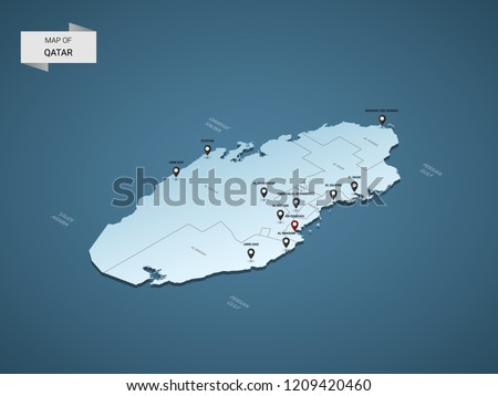 Isometric 3D Qatar map,  vector illustration with cities, borders, capital, administrative divisions and pointer marks; gradient blue background.  Concept for infographic.