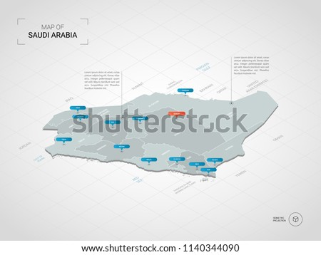 Isometric  3D Saudi Arabia  map. Stylized vector map illustration with cities, borders, capital Riyadh , administrative divisions and pointer marks; gradient background with grid.