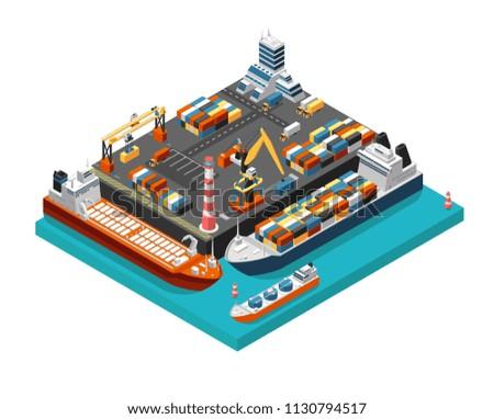 isometric 3d seaport terminal