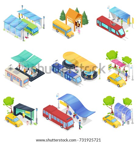 Isometric 3D set city public transport. Modern town waiting stations of bus, taxi car, tram and subway. Urban and countryside traffic concepts with transport stops and vehicles vector illustration.
