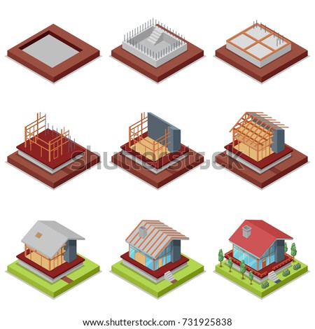 isometric 3d set construction