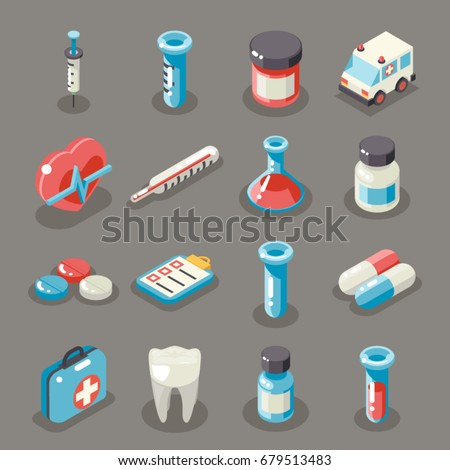 Isometric 3d Sign Health Medical Hospital Ambulance Healthcare Doctor Flat Symbol Collection Icons Set Vector Illustration