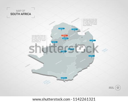 Isometric  3D South Africa map. Stylized vector map illustration with cities, borders, capital Pretoria , administrative divisions and pointer marks; gradient background with grid.