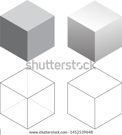 Isometric 3D Square Cubes Isolated Vector Illustration