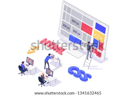 Isometric 3d teamwork building and do layout new modern site. Concept man programmer characters with online web html, css, workplace. Low poly. Vector illustration. Zdjęcia stock ©
