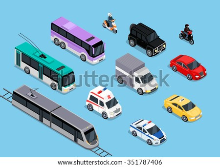 Isometric 3d transport set flat design. Car vehicle, transportation traffic, truck van, auto cargo, bus and automobile, police and motorcycle illustration. Car icon. Transport icon set