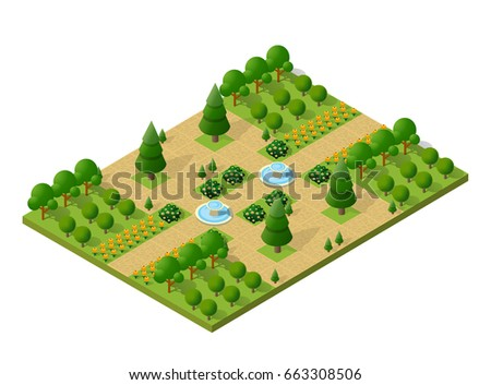 Isometric 3d trees forest camping nature elements white background for landscape design. Vector illustration isolated. Icons for city maps, games and your town