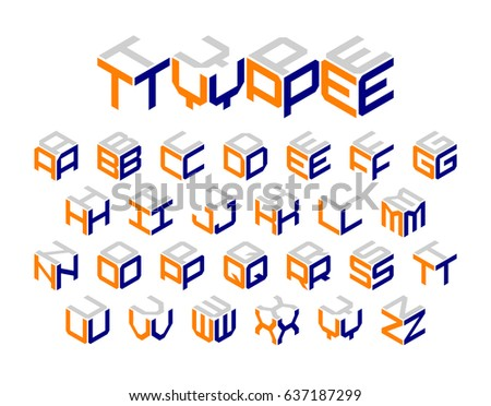 Isometric 3d type, three-dimensional alphabet vector illustration