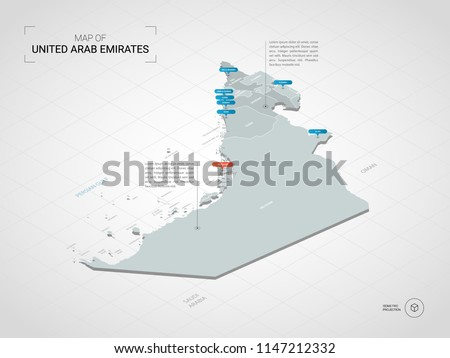 Isometric  3D United Arab Emirates (UAE) map. Stylized vector map illustration with cities, borders, capital Abu Dhabi , administrative divisions and pointer marks; gradient background with grid.