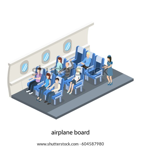 Isometric 3D vector illustration concept interior inside the plane with passengers and stewardess
