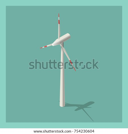 Isometric 3d vector illustration of wind turbine. Alternative energy. . Isolated model in flat, cartoon style. Energy concept. Environmental friendly. Icon for web. Isolated on white background.
