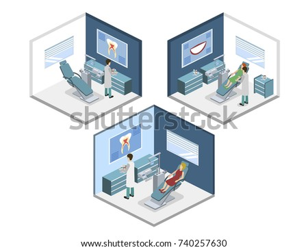 Isometric 3D vector illustration people are enrolled to see a dentist. A nurse is taking patients. The dentist treats the patient. People are waiting for a dentist.