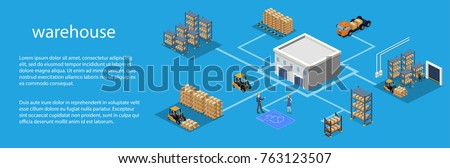 Isometric 3D vector illustration warehouse with a forklift, goods and people. Logistic process in the warehouse