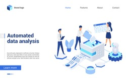 Isometric data analysis vector illustration. Website interface 3d design with cartoon business analyst people working on financial report, analyzing finance statistics. Automated database technology