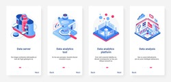 Isometric data analytics, analysis digital technology vector illustration. UX, UI onboarding mobile app page screen set with cartoon 3d database server platform with analyzing tools, work of analysts