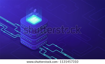 Isometric data center architecture concept. Dataflow, database engine design, parallel computing framework, equipment of data center facility on blue background. Vector 3d isometric illustration.